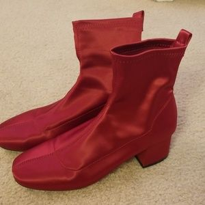 Forever 21 red satin boots